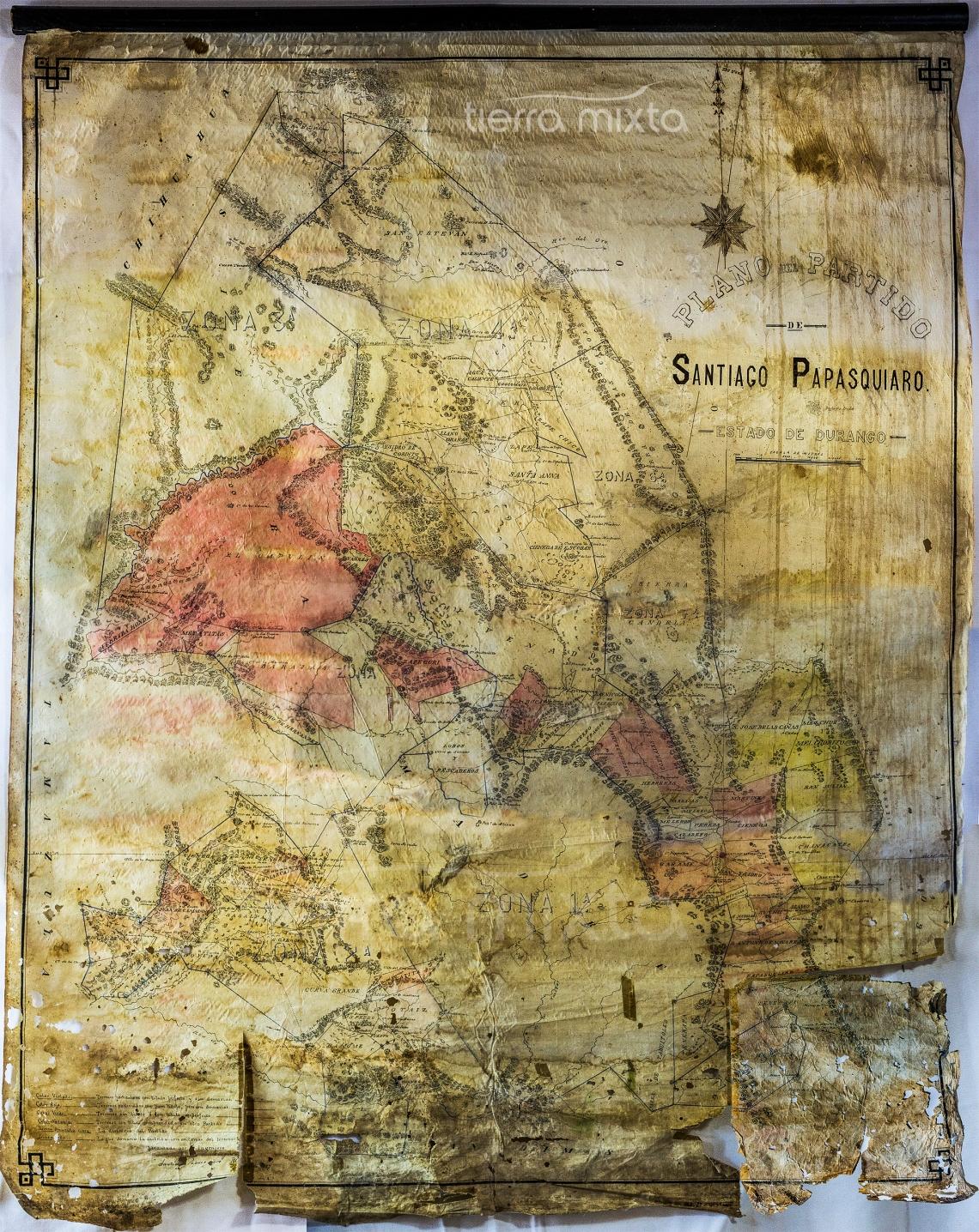 Mapa Santiago Papasquiaro _ 1887 _ Tierra Mixta - José Guadalupe Porras _ Cristian Herrera _ Durango